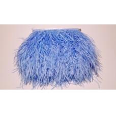 Страусиные перья на ленте голубые