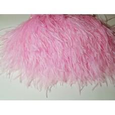 Страусиные перья на ленте св.розовые