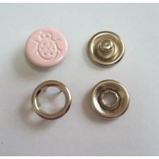 Кнопка 9,5 мм ЛОГО БОЖЬЯ КОРОВКА - 133 розовая