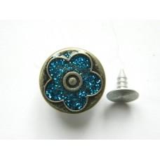 Джинсовая пуговица НЕРЖ № 5 / 17 мм - бл никель цветочек синий