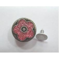 Джинсовая пуговица НЕРЖ № 5 / 17 мм - бл никель цветочек розовый