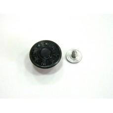 Джинсовая пуговица стальная со звездочками 17 мм - оксид