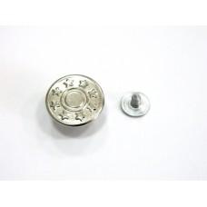 Джинсовая пуговица стальная со звездочками 17 мм - никель